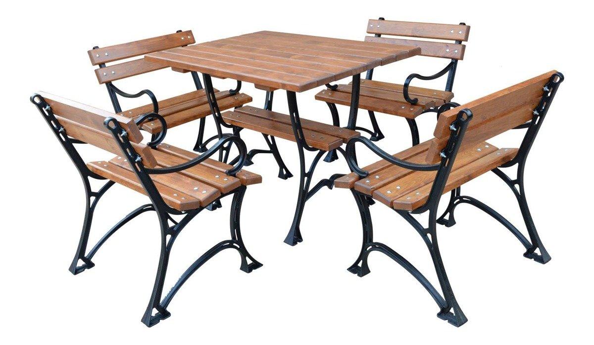 Gartenmobel Set Restor Tisch Und 4 Stuhle Massivholz Erle Solides Gusseisen Lackiert Shop Otobram De